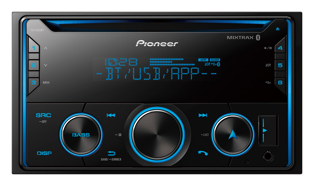 Pioneer FH-S520BT Double DIN CD Receiver with MIXTRAX, Built-in Bluetooth